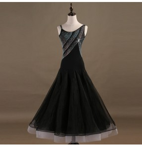 Black ballroom dresses for women girls abiti da ballo di tango valzer diamond sleeveless waltz tango competition professional long dresses